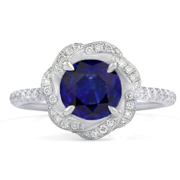 1.2 ct Round Sapphire Twisted Halo Ring