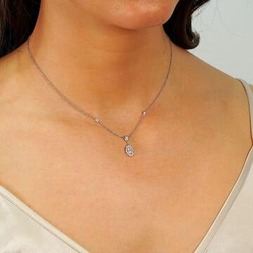 0.73 Carat Oval Diamond Pendant Necklace