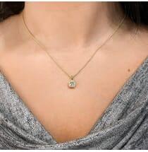 Petite Round Diamond in Cushion Halo Pendant product image