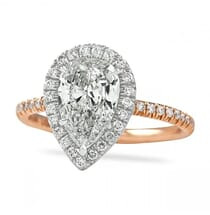 pear shape diamond rose gold halo engagement ring