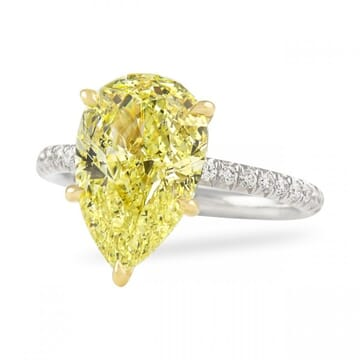 4 carat pear shape yellow diamond ring