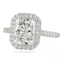 2.5 carat radiant cut diamond halo ring
