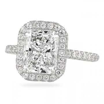 2.5 carat radiant cut diamond halo ring