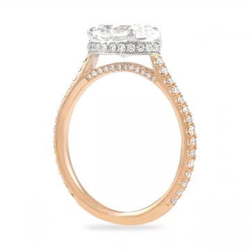 east west oval engagement ring rose gold