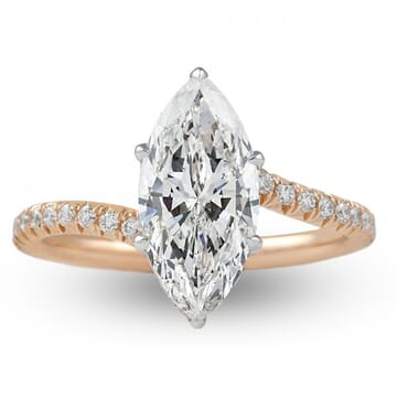 1.75 ct Marquise Diamond Rose Gold Swoop Engagement Ring
