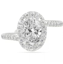1.20 Carat Oval Diamond Swoop Halo Engagement Ring