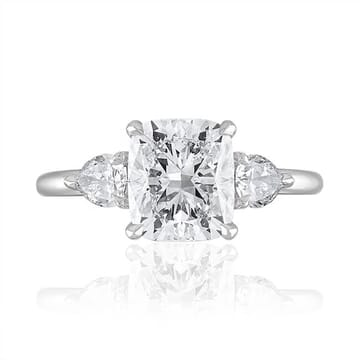 2.01 Carat Cushion Cut Diamond Three-Stone Engagement Ring