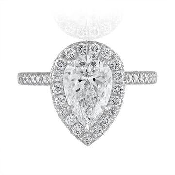 1.79 Carat Pear Shape Diamond Double-Edge Halo Engagement Ring