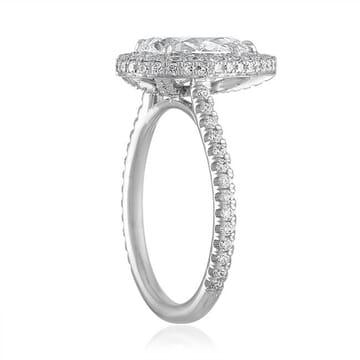 1.71 Carat Pear Shape Diamond Double-Edge Halo Engagement Ring