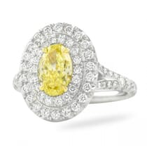 oval yellow diamond double halo ring