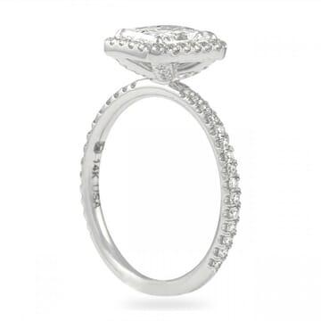 1.2 carat radiant cut diamond halo ring