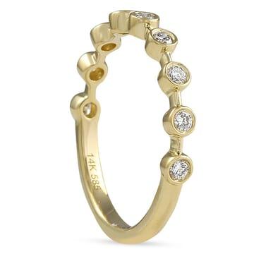 Spaced Bezel Diamond Band yellow gold