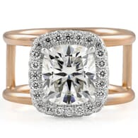 Cushion Moissanite Double Edge Halo Wide Split Ring rose white gold front view