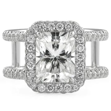 Radiant Cut Moissanite Split Band Halo Engagement Ring front view white gold