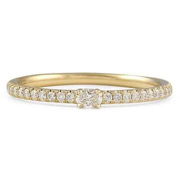 Mini Oval Yellow Gold Super Stacking Ring