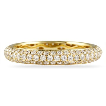 THREE ROW MICROPAVE YELLOW GOLD ETERNITY BAND