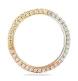 .85 CT DIAMOND TRI-COLOR GOLD THREE ROW ETERNITY BAND