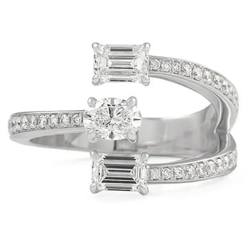 Emerald and Oval Diamond Open Cuff Style Band front view white gold