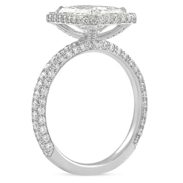 radiant cut diamond three row engagement ring