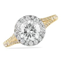 ROUND DIAMOND IN TWO TONE HALO ENGAGEMENT RING YELLOW GOLD BAND