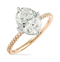 TWO-TONE ENGAGEMENT RING OVAL DIAMOND WITH NORTH SOUTH PRONGS