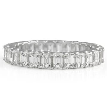 Emerald Cut Diamond U-Shape Eternity Band white gold