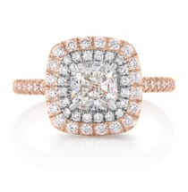 1.00 Carat Cushion Diamond Two-Tone Double Halo Engagement Ring