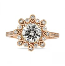 vintage style rose gold halo engagement ring