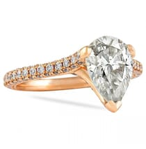 Pear Moissanite Rose Gold Three Row Engagement Ring