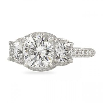 Cushion Moissanite Three-Stone Hidden Halo Engagement Ring