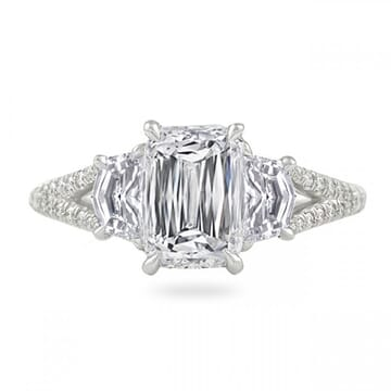 1.69ct Hybrid Step Cut Platinum Three-Stone Ring