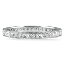 WHITE GOLD ETERNITY BAND WITH BRIGHT CUT PAVE MILGRAIN