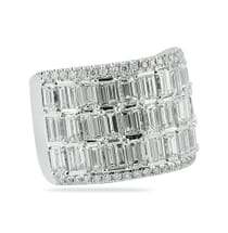 wide baguette and emerald cut wedding band