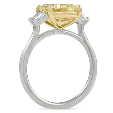 3.05 carat Yellow Cushion Cut Diamond Three-Stone Ring front view white gold