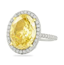 7 carat oval yellow diamond in halo