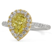 1.00 Carat Pear Shape Yellow Diamond Halo Ring