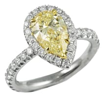 PEAR SHAPE YELLOW DIAMOND HALO ENGAGEMENT RING