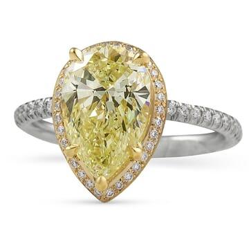 2.4 ct Pear Shape Yellow Diamond Hidden Halo™ Engagement Ring