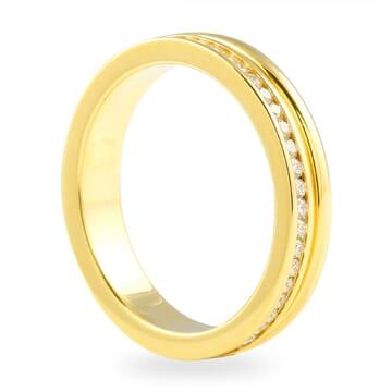 HALF CHANNEL SET - HALF PLAIN YELLOW GOLD BAND