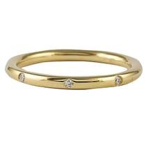 burnished set yellow gold wedding band diamonds