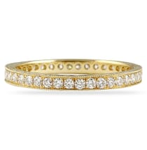 yellow gold bright cut eternity band