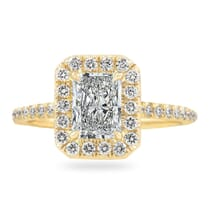 .80 CT RADIANT CUT DIAMOND YELLOW GOLD HALO RING