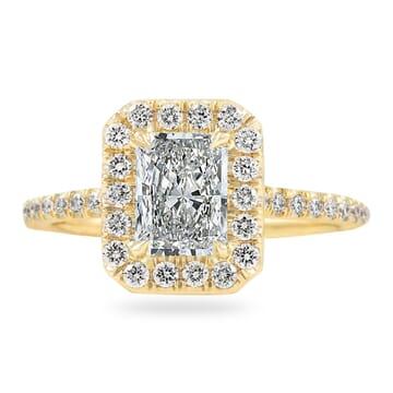 .80 CT RADIANT CUT DIAMOND YELLOW GOLD HALO RING