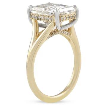 Radiant Cut Moissanite Split Band Engagement Ring