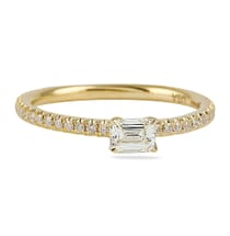 EMERALD CUT YELLOW GOLD EAST WEST SETTING