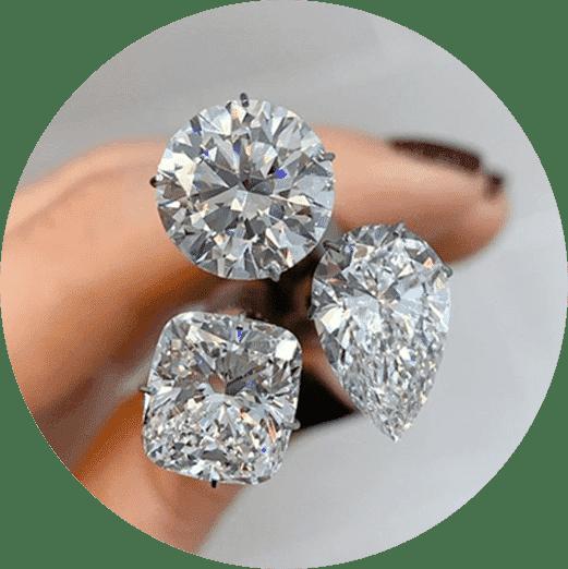 three diamond shapes close-up view