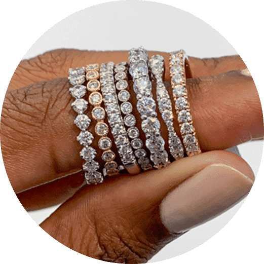 diamond wedding band stack various golds