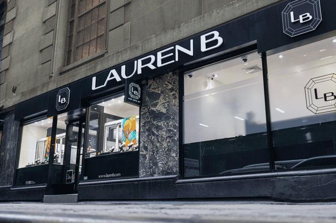 lauren b jewelry store front nyc street