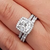 Classic Halo Delicate Pave Band Engagement Rings